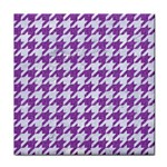 HOUNDSTOOTH1 WHITE MARBLE & PURPLE DENIM Tile Coasters