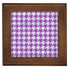 Houndstooth1 White Marble & Purple Denim Framed Tiles