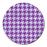 HOUNDSTOOTH1 WHITE MARBLE & PURPLE DENIM Round Mousepads