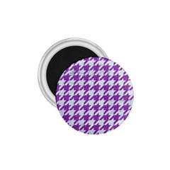 Houndstooth1 White Marble & Purple Denim 1 75  Magnets by trendistuff