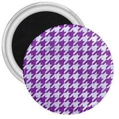Houndstooth1 White Marble & Purple Denim 3  Magnets by trendistuff