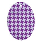 HOUNDSTOOTH1 WHITE MARBLE & PURPLE DENIM Ornament (Oval)