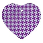 HOUNDSTOOTH1 WHITE MARBLE & PURPLE DENIM Ornament (Heart)