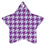 HOUNDSTOOTH1 WHITE MARBLE & PURPLE DENIM Ornament (Star) Front
