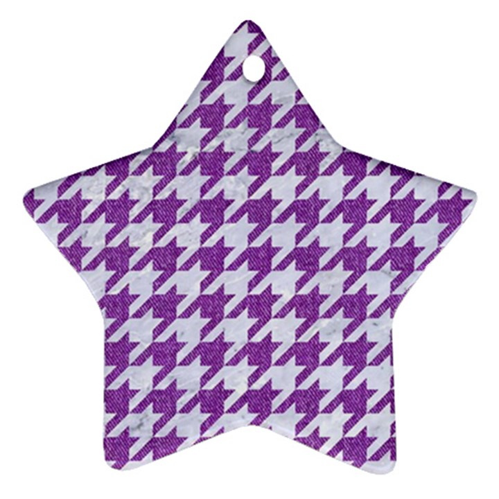 HOUNDSTOOTH1 WHITE MARBLE & PURPLE DENIM Ornament (Star)