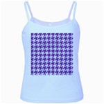 HOUNDSTOOTH1 WHITE MARBLE & PURPLE DENIM Baby Blue Spaghetti Tank