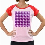 HOUNDSTOOTH1 WHITE MARBLE & PURPLE DENIM Women s Cap Sleeve T-Shirt Front