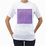 HOUNDSTOOTH1 WHITE MARBLE & PURPLE DENIM Women s T-Shirt (White) (Two Sided)