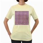 HOUNDSTOOTH1 WHITE MARBLE & PURPLE DENIM Women s Yellow T-Shirt Front
