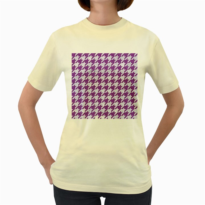 HOUNDSTOOTH1 WHITE MARBLE & PURPLE DENIM Women s Yellow T-Shirt