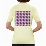 HOUNDSTOOTH1 WHITE MARBLE & PURPLE DENIM Women s Yellow T-Shirt Back