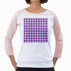Houndstooth1 White Marble & Purple Denim Girly Raglans