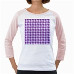 HOUNDSTOOTH1 WHITE MARBLE & PURPLE DENIM Girly Raglans Front