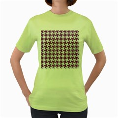 Houndstooth1 White Marble & Purple Denim Women s Green T Shirt