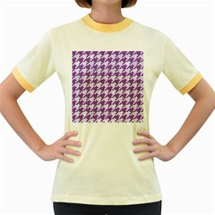 Houndstooth1 White Marble & Purple Denim Women s Fitted Ringer T Shirts