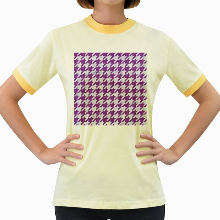 HOUNDSTOOTH1 WHITE MARBLE & PURPLE DENIM Women s Fitted Ringer T-Shirts