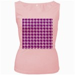 HOUNDSTOOTH1 WHITE MARBLE & PURPLE DENIM Women s Pink Tank Top