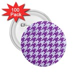 HOUNDSTOOTH1 WHITE MARBLE & PURPLE DENIM 2.25  Buttons (100 pack)  Front