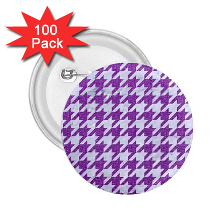 HOUNDSTOOTH1 WHITE MARBLE & PURPLE DENIM 2.25  Buttons (100 pack)