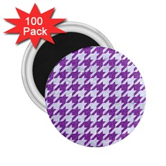 Houndstooth1 White Marble & Purple Denim 2 25  Magnets (100 Pack)  by trendistuff