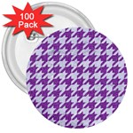 HOUNDSTOOTH1 WHITE MARBLE & PURPLE DENIM 3  Buttons (100 pack)  Front
