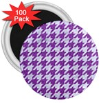 HOUNDSTOOTH1 WHITE MARBLE & PURPLE DENIM 3  Magnets (100 pack)