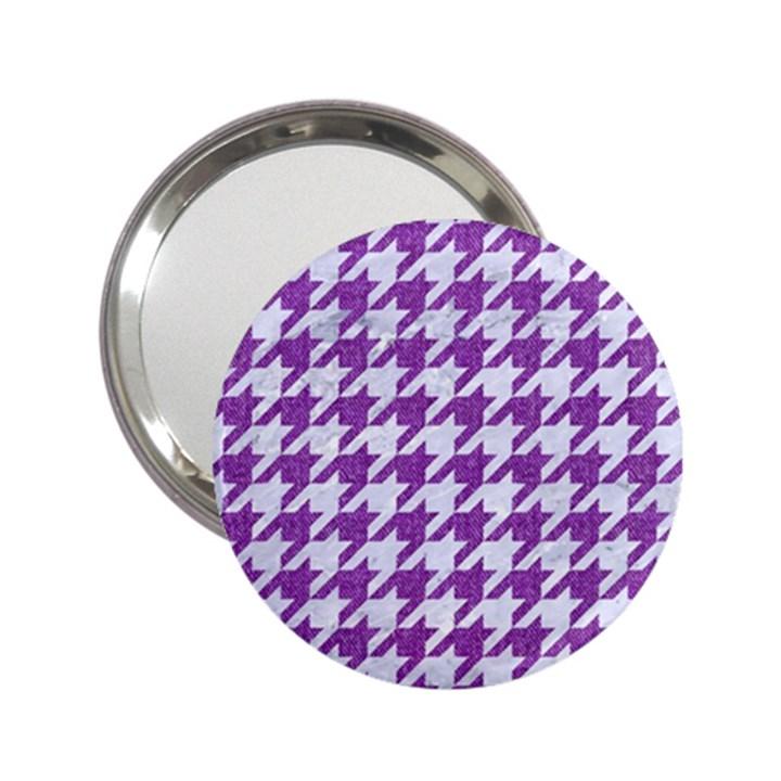 HOUNDSTOOTH1 WHITE MARBLE & PURPLE DENIM 2.25  Handbag Mirrors