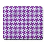HOUNDSTOOTH1 WHITE MARBLE & PURPLE DENIM Large Mousepads