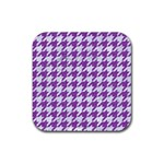 HOUNDSTOOTH1 WHITE MARBLE & PURPLE DENIM Rubber Square Coaster (4 pack)