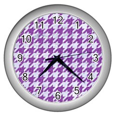 Houndstooth1 White Marble & Purple Denim Wall Clocks (silver)
