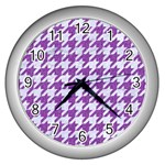 HOUNDSTOOTH1 WHITE MARBLE & PURPLE DENIM Wall Clocks (Silver)  Front
