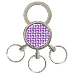 HOUNDSTOOTH1 WHITE MARBLE & PURPLE DENIM 3-Ring Key Chains