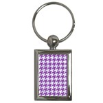 HOUNDSTOOTH1 WHITE MARBLE & PURPLE DENIM Key Chains (Rectangle)