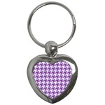 HOUNDSTOOTH1 WHITE MARBLE & PURPLE DENIM Key Chains (Heart)
