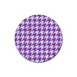 HOUNDSTOOTH1 WHITE MARBLE & PURPLE DENIM Rubber Round Coaster (4 pack)