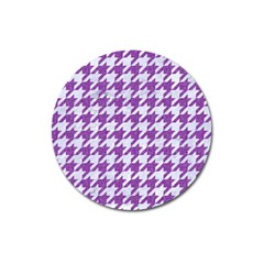 Houndstooth1 White Marble & Purple Denim Magnet 3  (round) by trendistuff