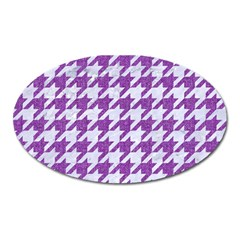Houndstooth1 White Marble & Purple Denim Oval Magnet by trendistuff