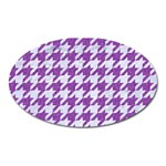 HOUNDSTOOTH1 WHITE MARBLE & PURPLE DENIM Oval Magnet