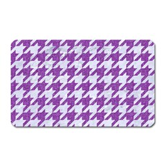 Houndstooth1 White Marble & Purple Denim Magnet (rectangular) by trendistuff