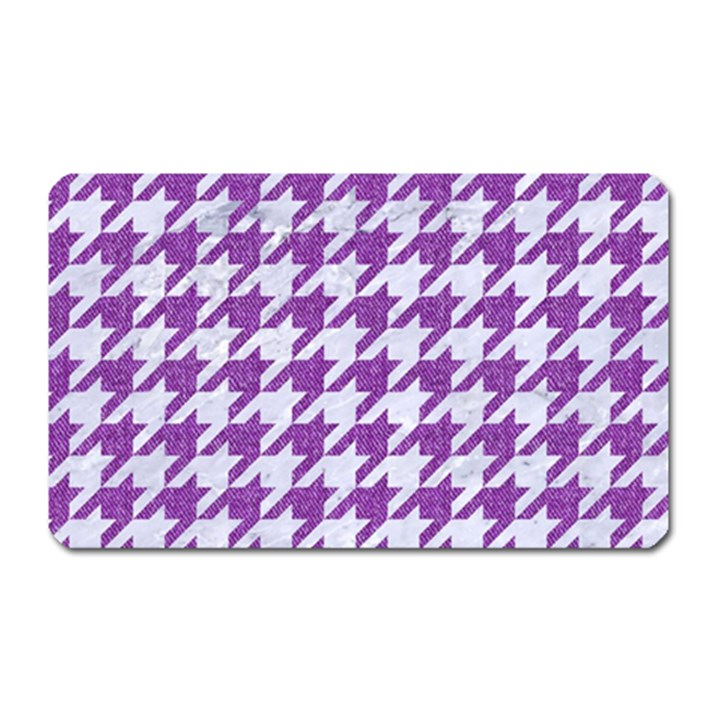 HOUNDSTOOTH1 WHITE MARBLE & PURPLE DENIM Magnet (Rectangular)