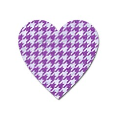 Houndstooth1 White Marble & Purple Denim Heart Magnet by trendistuff
