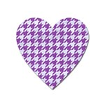 HOUNDSTOOTH1 WHITE MARBLE & PURPLE DENIM Heart Magnet
