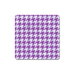 Houndstooth1 White Marble & Purple Denim Square Magnet