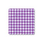 HOUNDSTOOTH1 WHITE MARBLE & PURPLE DENIM Square Magnet Front