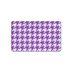 Houndstooth1 White Marble & Purple Denim Magnet (name Card) by trendistuff