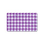HOUNDSTOOTH1 WHITE MARBLE & PURPLE DENIM Magnet (Name Card)