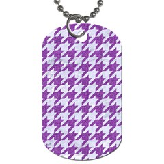 Houndstooth1 White Marble & Purple Denim Dog Tag (one Side)