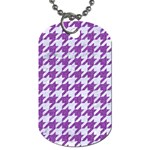 HOUNDSTOOTH1 WHITE MARBLE & PURPLE DENIM Dog Tag (Two Sides)