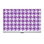 HOUNDSTOOTH1 WHITE MARBLE & PURPLE DENIM Business Card Holders