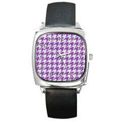 Houndstooth1 White Marble & Purple Denim Square Metal Watch